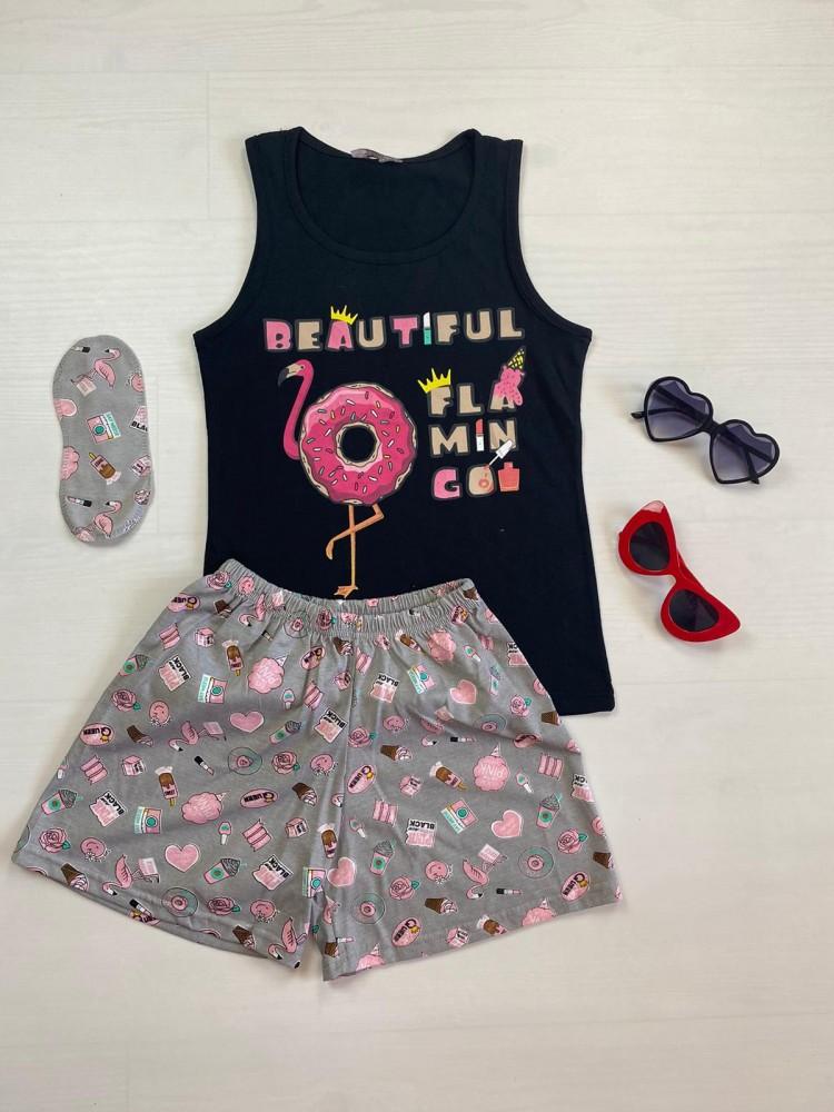 Pijama dama ieftina bumbac cu pantaloni scurti gri si maieu negru cu imprimeu Flamingo