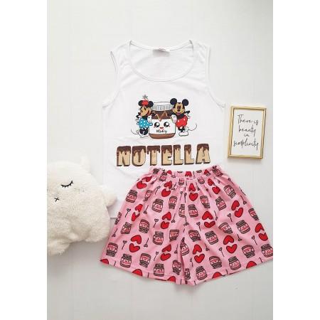 Pijama dama ieftina bumbac cu pantaloni scurti roz si maieu alb cu imprimeu NTL cuplu