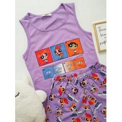 Pijama dama ieftina bumbac cu pantaloni scurti si maieu mov cu imprimeu PowerPuff