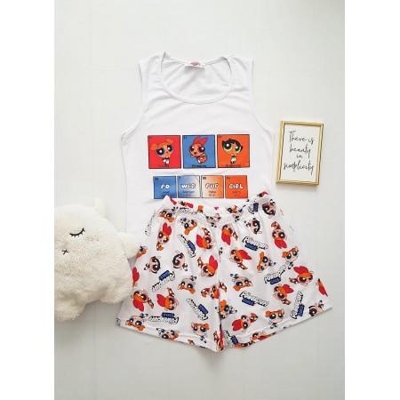 Pijama dama ieftina bumbac cu pantaloni scurti si maieu alb cu imprimeu PowerPuff