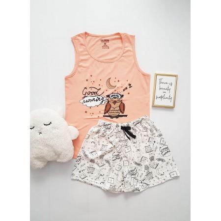 Pijama dama ieftina bumbac cu pantaloni scurti albi si maieu roz cu imprimeu Bufnita