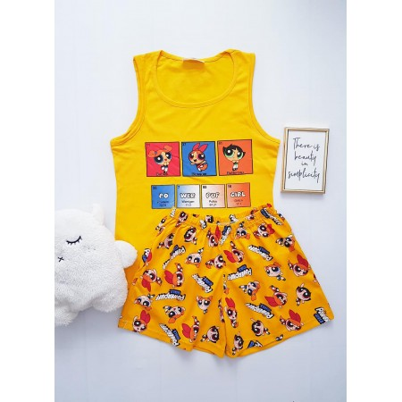 Pijama dama ieftina bumbac cu pantaloni scurti si maieu galben cu imprimeu PowerPuff
