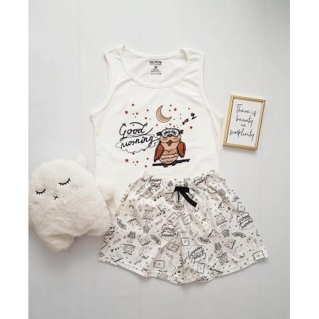 Pijama dama ieftina bumbac cu pantaloni scurti albi si maieu alb cu imprimeu Bufnita