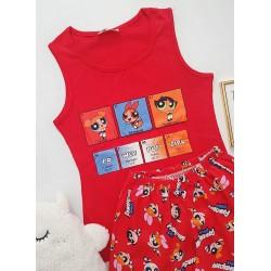 Pijama dama ieftina bumbac cu pantaloni scurti si maieu rosu cu imprimeu PowerPuff
