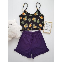 Pijama dama ieftina scurta cu maieu cu volanase Combo avocado negru + mov