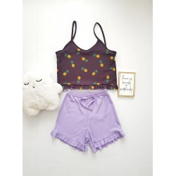 Pijama dama ieftina scurta cu maieu cu volanase Combo lemon mic + lila