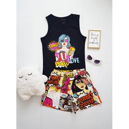 Pijama dama ieftina din bumbac cu maieu negru si pantaloni scurti albi cu imprimeu Girl