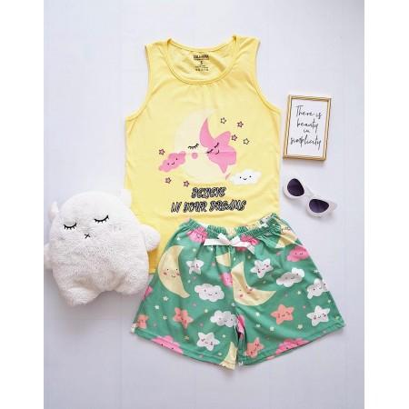 Pijama dama bumbac primavara-vara cu pantaloni scurti verzi si maieu galben cu imprimeu Moon