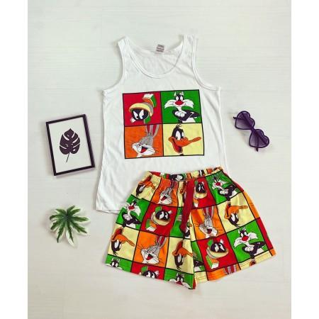 Pijama dama ieftina bumbac cu maieu alb/rosu si pantaloni scurti cu imprimeu Disney 4