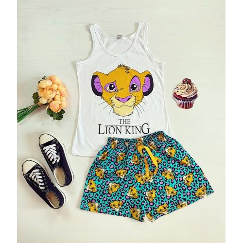 Pijama dama ieftina bumbac cu maieu si pantaloni scurti cu imprimeu Lion