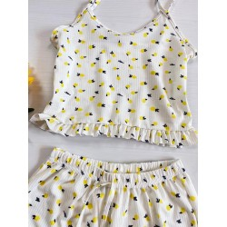Pijama dama alba ieftina scurta cu maieu cu volanase si imprimeu Lemon