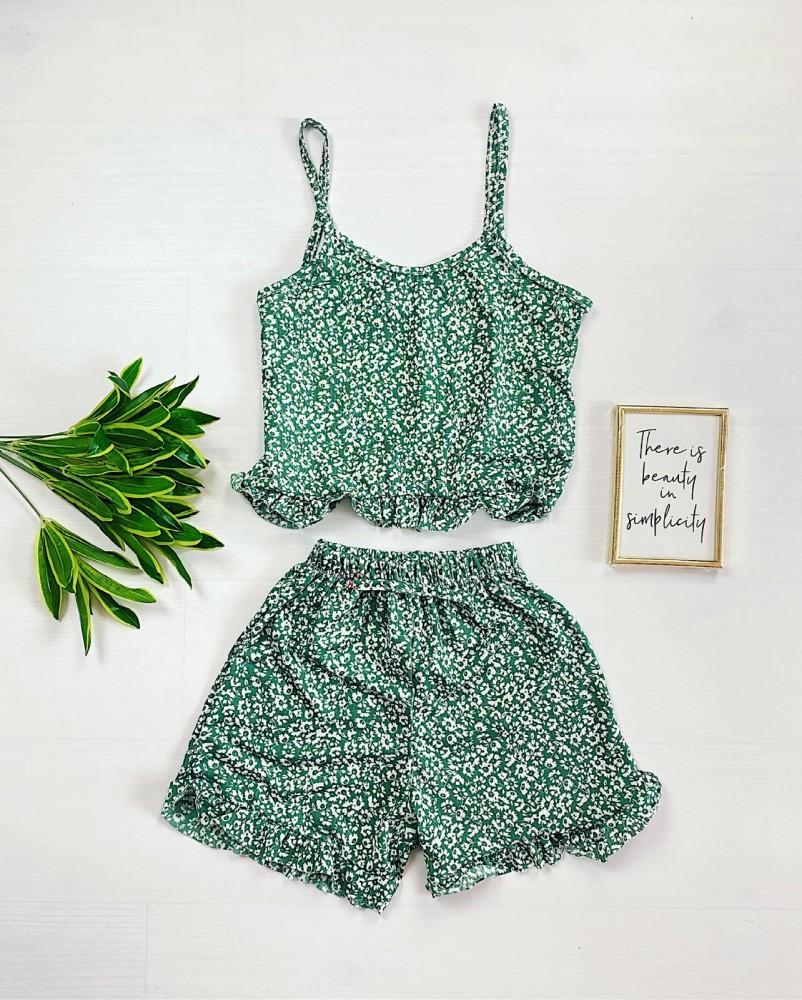 Pijama dama verde ieftina scurta cu maieu cu volanase si imprimeu musetel
