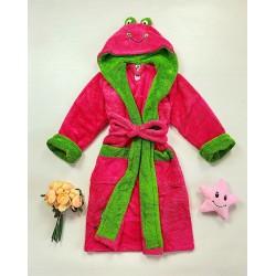 Halat dama ieftin plusat roz cu imprimeu verde si broscuta