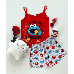 Pijama dama ieftina primavara-vara cu maieu rosu si pantaloni scurti cu imprimeu Cookies