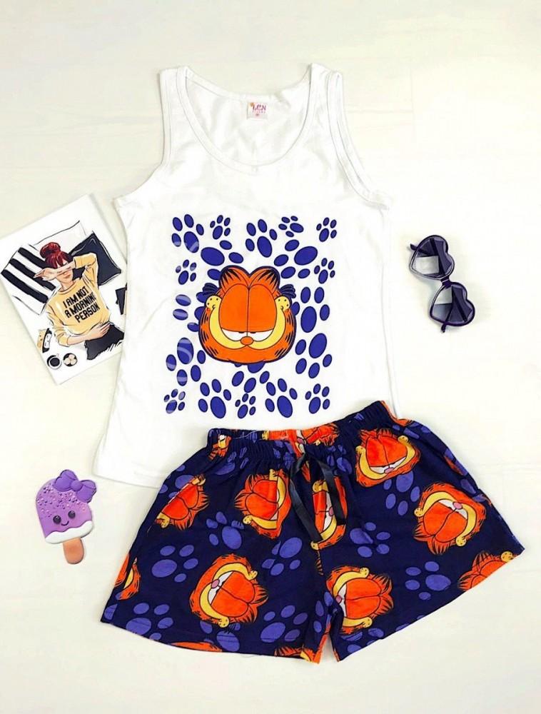 Pijama dama ieftina bumbac primavara vara cu maieu alb si pantaloni scurti bleumarin cu imprimeu Garfield