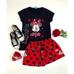 Pijama dama ieftina bumbac primavara vara cu tricou negru si pantaloni scurti rosii cu imprimeu Minnie Mouse