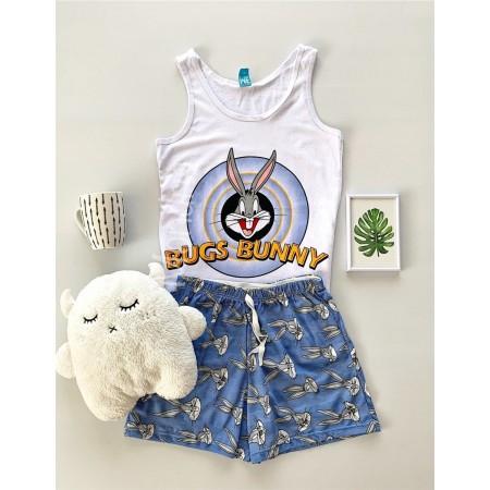 Pijama dama ieftina primavara-vara cu pantaloni scurti albastrii si maieu alb cu imprimeu Bugs Bunny