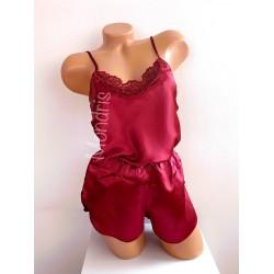 Pijama dama ieftina primavara-vara visinie din satin lucios cu model dantelat