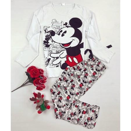 Pijama dama ieftina bumbac lunga cu bluza alba cu maneca lunga si pantaloni lungi albi cu imprimeu Mickey Mouse