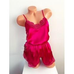 Pijama dama ieftina primavara-vara roz din satin lucios cu model dantelat