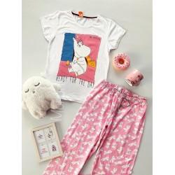 Pijama dama ieftina bumbac lunga cu tricou alb si pantaloni lungi roz cu imprimeu Ready for the day