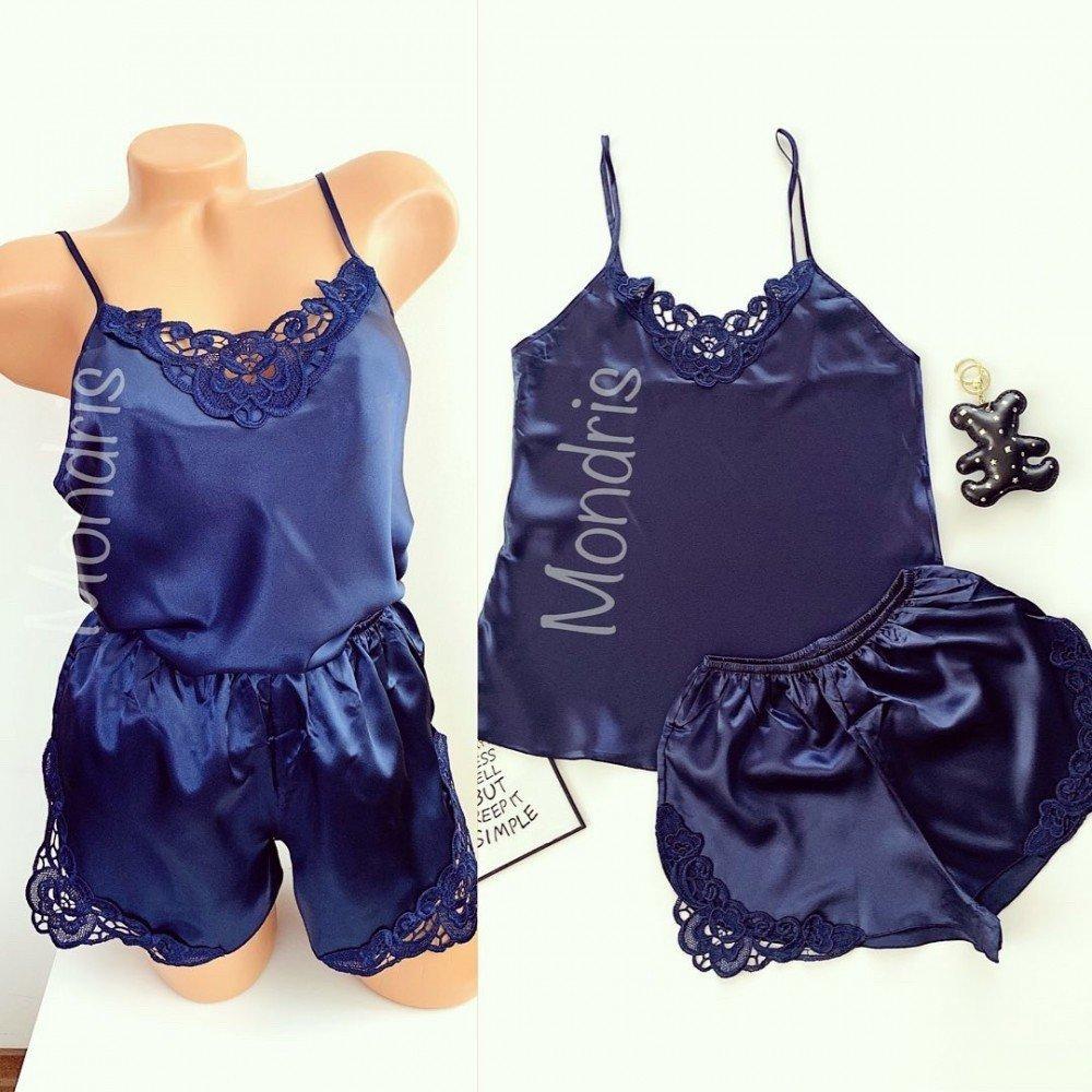 Pijama dama ieftina primavara-vara bleumarin din satin lucios cu model dantelat