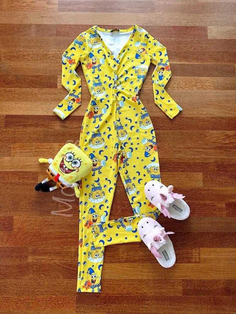Pijama dama tip salopeta lunga galbena cu maneca lunga si imprimeu SB