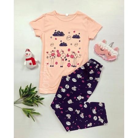 Pijama dama ieftina bumbac lunga cu pantaloni lungi bleumarin si tricou roz cu imprimeu animalute