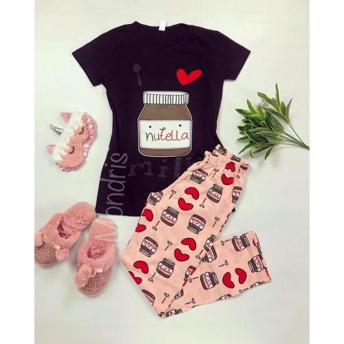 Pijama dama ieftina bumbac cu pantaloni lungi roz si tricou negru cu imprimeu Nutella