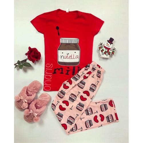 Pijama dama ieftina bumbac cu pantaloni lungi roz si tricou rosu cu imprimeu NT