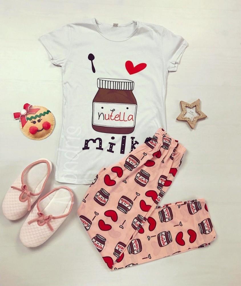 Pijama dama ieftina bumbac cu pantaloni lungi roz si tricou alb cu imprimeu Nutella