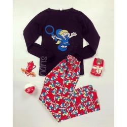 Pijama dama ieftina bumbac cu pantaloni lungi rosii si bluza cu maneca lunga neagra cu imprimeu Team Smurf