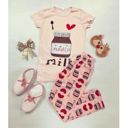 Pijama dama ieftina bumbac cu pantaloni lungi roz si tricou roz cu imprimeu Nutella