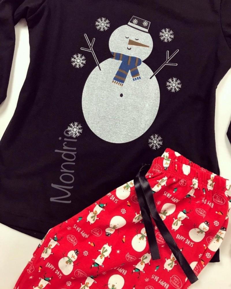 Pijama dama ieftina bumbac lunga cu pantaloni lungi rosii si bluza cu maneca lunga neagra cu imprimeu Om de zapada