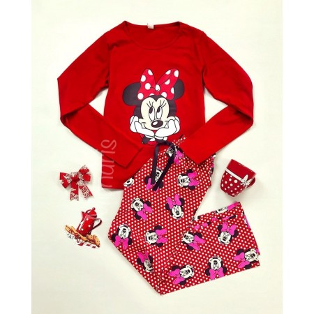 Pijama dama ieftina din bumbac lunga cu pantaloni lungi rosii si bluza cu maneca lunga rosie cu imprimeu Minnie Mouse Happy Face
