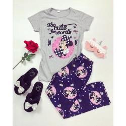 Pijama dama ieftina bumbac lunga cu pantaloni lungi bleumarin si tricou gri cu imprimeu Minnie Mouse Too Cute