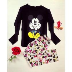 Pijama dama ieftina din bumbac lunga cu pantaloni lungi albi si bluza cu maneca lunga neagra cu imprimeu Mickey Mouse Ganditor