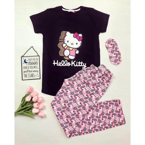 Pijama dama ieftina bumbac cu tricou negru si pantaloni lungi roz cu imprimeu Hello Kitty