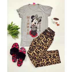 Pijama dama din bumbac ieftina cu tricou gri si pantaloni maro cu imprimeu MM Animal Print