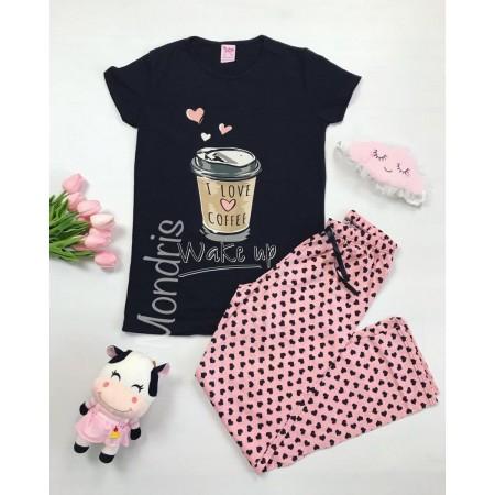 Pijama dama ieftina primavara-vara cu tricou negru si pantaloni lungi roz cu imprimeu Coffee