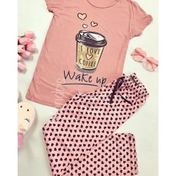 Pijama dama ieftina primavara-vara cu tricou roz si pantaloni lungi roz cu imprimeu Coffee