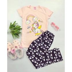 Pijama dama ieftina bumbac lunga cu pantaloni lungi bleumarin si tricou roz cu imprimeu Unicorn Music
