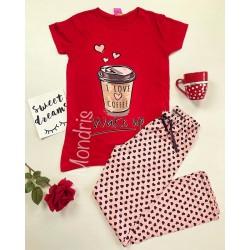Pijama dama ieftina primavara-vara cu tricou rosu si pantaloni lungi roz cu imprimeu Coffee