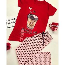 Pijama dama ieftina primavara-vara cu tricou rosu si pantaloni lungi roz cu imprimeu Coffee is my Lover