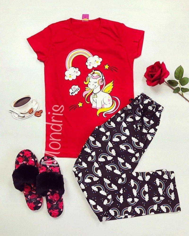 Pijama dama ieftina bumbac lunga cu pantaloni lungi bleumarin si tricou rosu cu imprimeu Unicorn Music