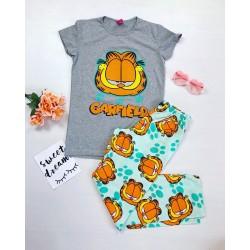 Pijama dama ieftina bumbac cu tricou gri si pantaloni lungi albastri cu imprimeu Garfield
