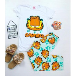 Pijama dama ieftina bumbac cu tricou alb si pantaloni lungi albastri cu imprimeu Garfield