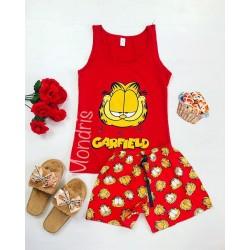Pijama dama ieftina bumbac primavara vara cu maieu rosu si pantaloni scurti rosii cu imprimeu Garfield