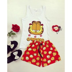 Pijama dama ieftina bumbac primavara vara cu maieu alb si pantaloni scurti rosii cu imprimeu Garfield