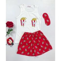 Pijama dama ieftina primavara-vara cu maieu alb si pantaloni scurti rosii cu imprimeu Popcorn